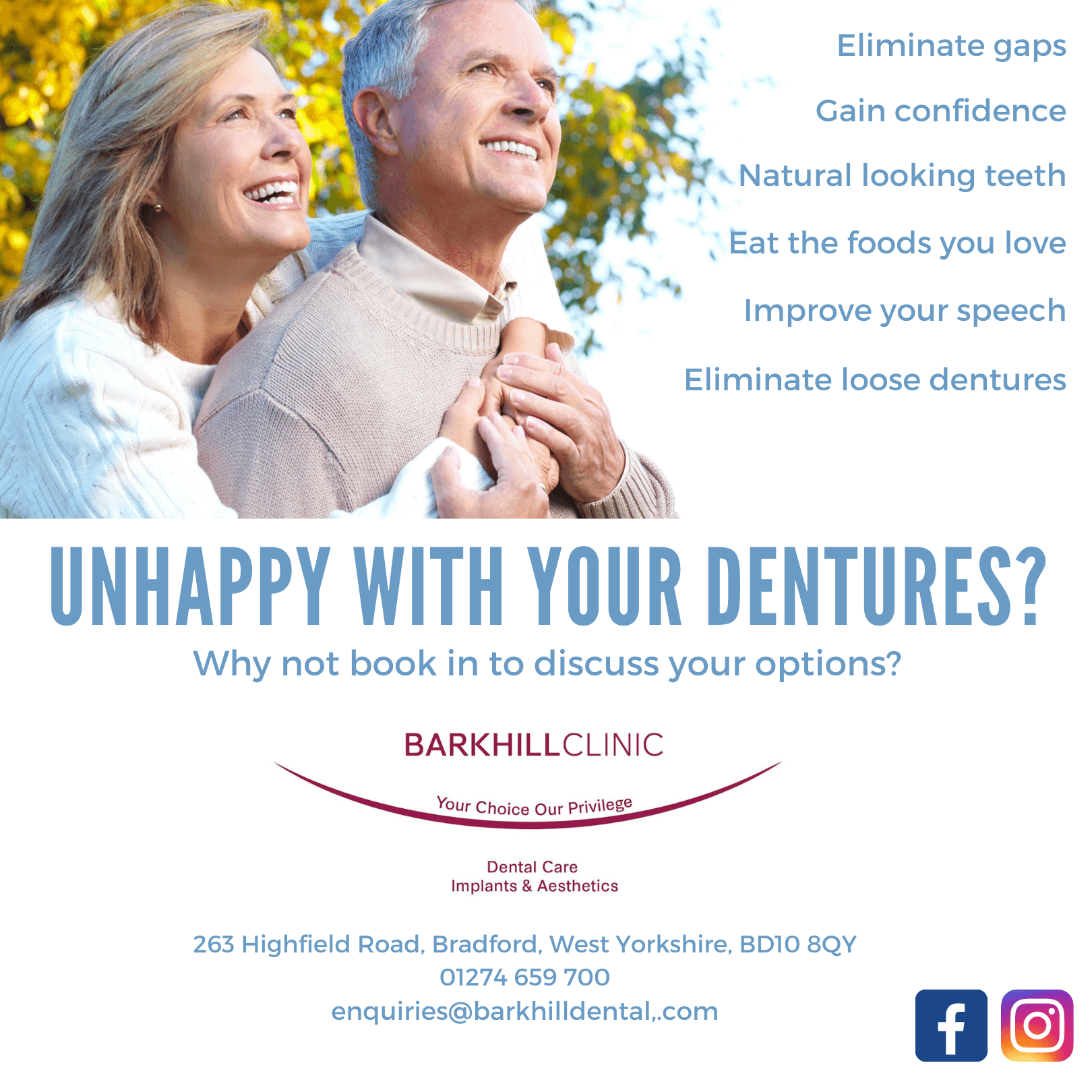 Unhappy with your dentures Banner